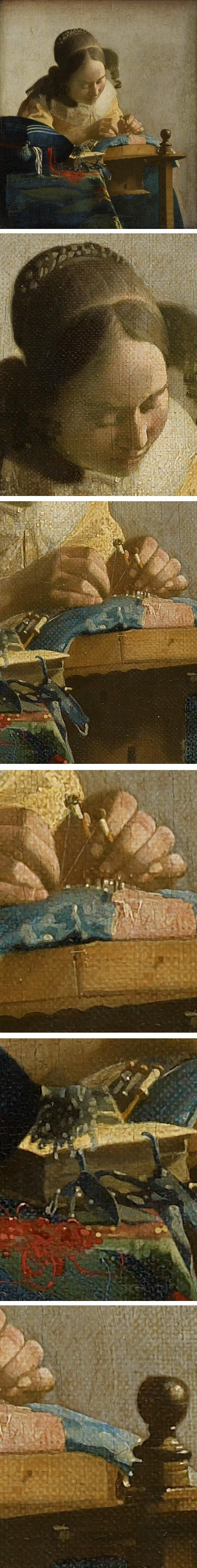 'Vermeer's The Lacemaker. Fascinating close- ups'. It is generally accepted that Vermeer employed a camera obscura when working. One of the tell-tale signs of the presence of a lens is when 'discs of confusion' appear. These bright specks of light are a characteristic of all Vermeer's mature works.
