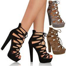Nuevo Mujer Damas Tacón Alto Plataforma Sandalias Gladiador acordonadas al Tobillo Zapatos Talla