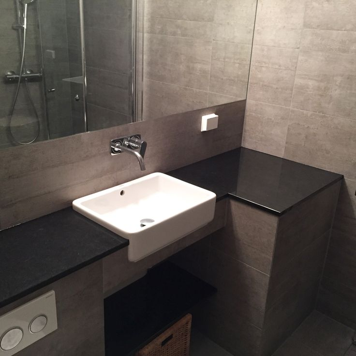 Levert av Lenngren Naturstein - Baderom inspirasjon | design | innredning | Nero Assoluto granitt servant - Bathroom inspiration | ideas | Natural Stone Granite