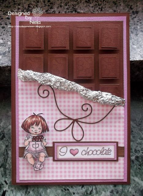 very cute! A card to look like a candy bar! - Nelasbasteleien: Chocolate Card