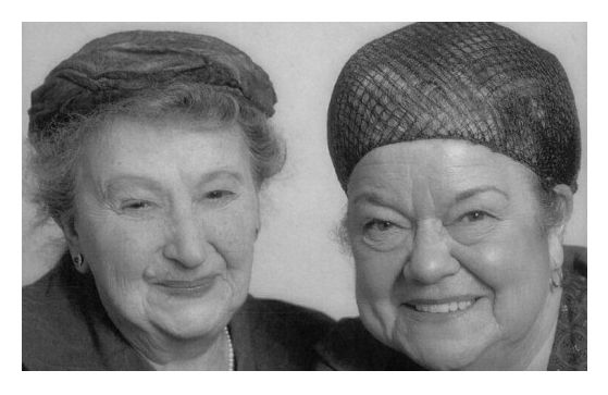 Kathleen Bryant (Minnie Caldwell) and Violet Carson (Ena Sharples) characters from Coronation Street.