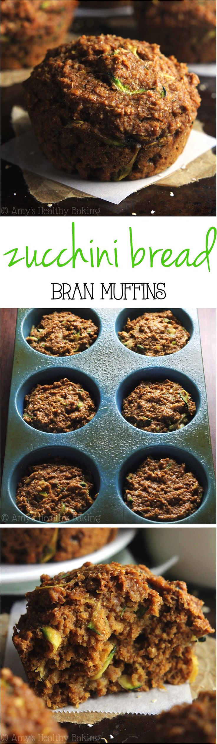 Healthy Zucchini Bread Bran Muffins -- one simple trick makes these the BEST bran muffins ever! Just 109 calories + nearly 4g of protein!