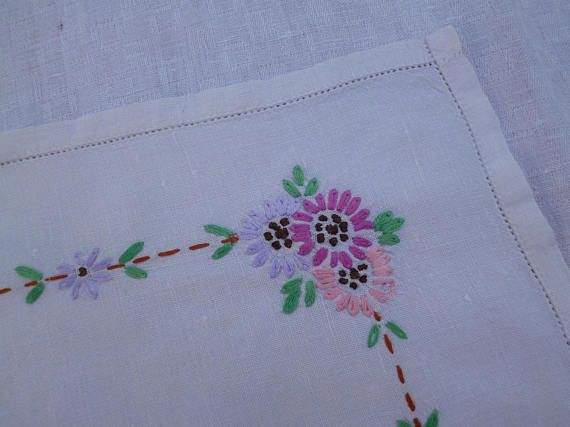Linen Tray / Vanity Cloth Hand-Embroidered with Flowers