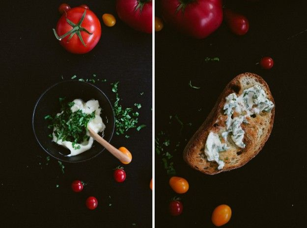 tomato toast w/ basil butter