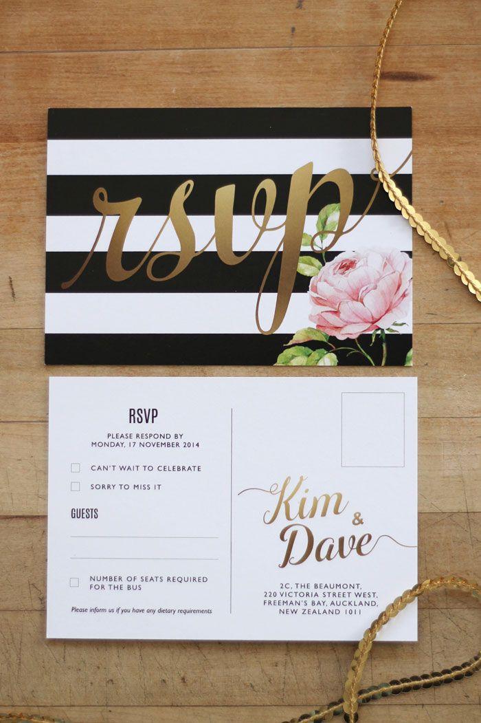 Wedding Invitation & Wedding Stationery Design NZ by Just My Type. Black, White & Gold Floral Wedding Stationery