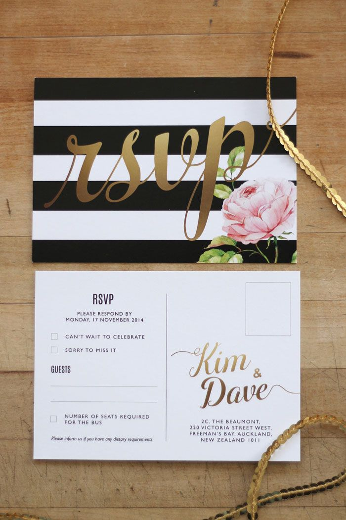 Wedding Invitation & Wedding Stationery Design NZ by Just My Type. Black, White & Gold Floral Wedding Stationery