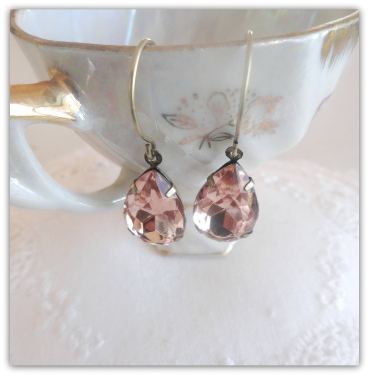 Pink champagne glass vintage earrings Bower by littleittybitty, $16.00