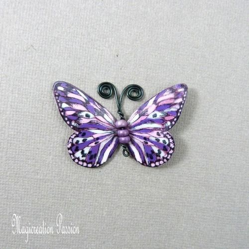 Papillon plastifié apolline violet, rose, blanc 5 cm