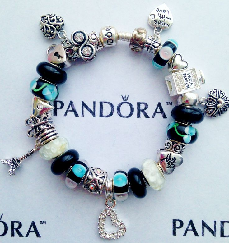 Authentic Pandora Charm Bracelet Chain With S  P Charms