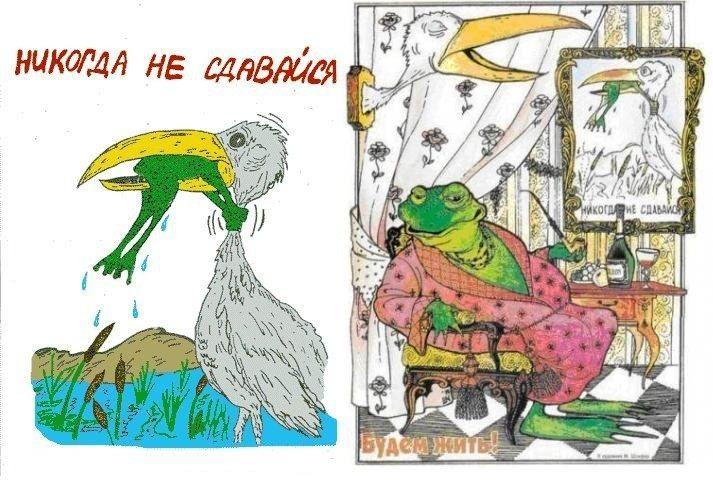 Демотиватор аист и лягушка