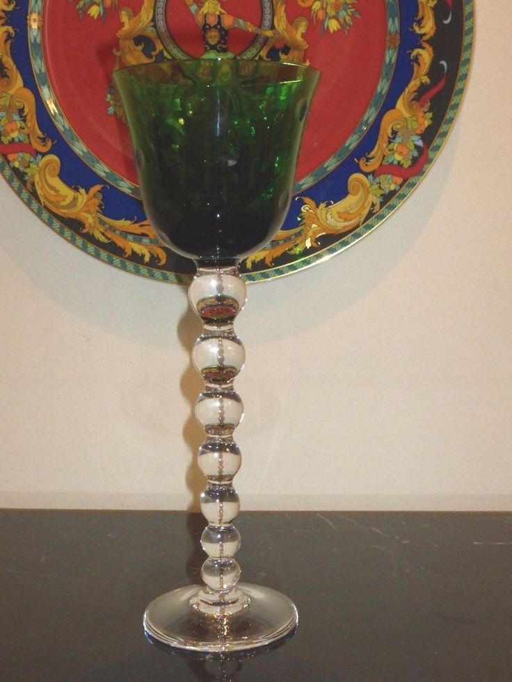"""ST LOUIS FRENCH CRYSTAL BUBBLES GREEN WINE GLASS 9 5/8"""""""