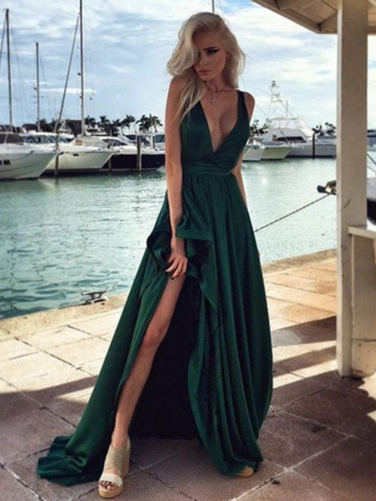 Deep V Neck Dark Green Prom Dress, Dark Green V Neck Formal Dress