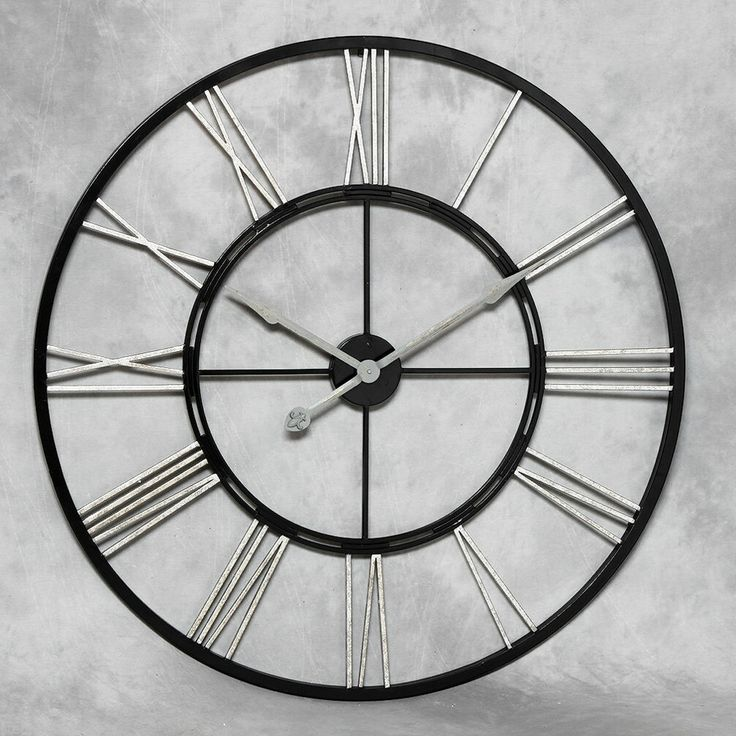 Very Large Black And Silver Metal Skeleton Clock   110 Cm Diameter   New