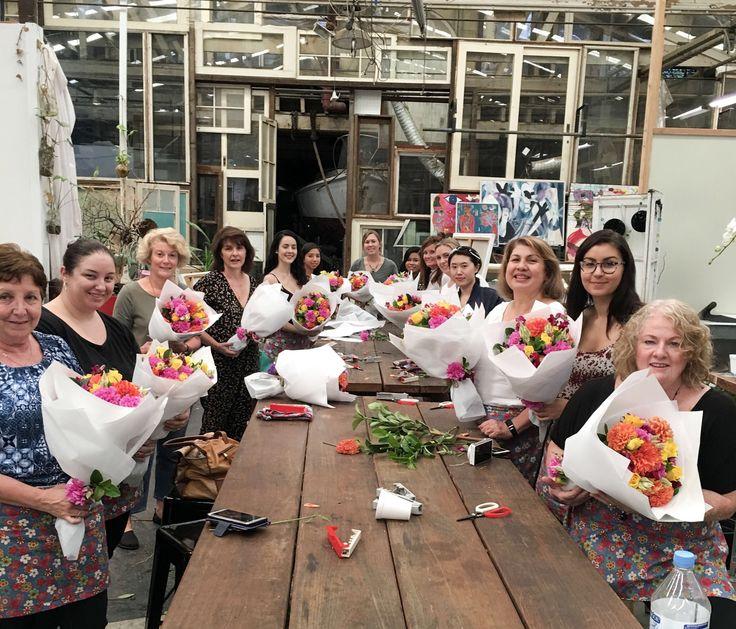 Hand-tied Bouquet making workshop Sydney.  #flowerworkshopsydney