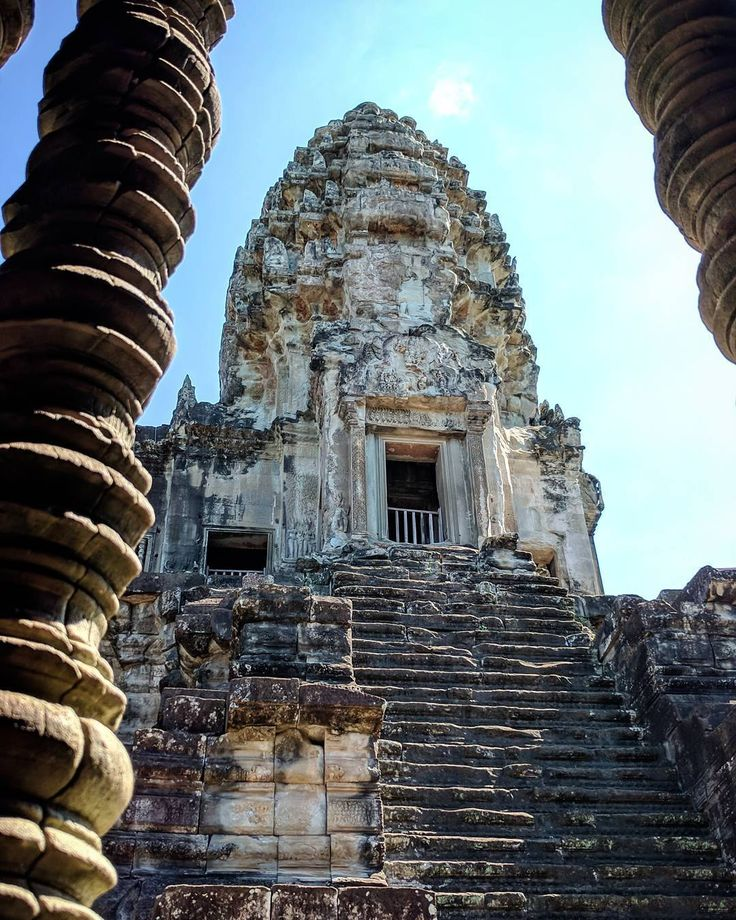 Angkor Thom Angkor Thom located in present-day Cambodia, was the last and most enduring capital city of the Khmer empire. It was established in the late twelfth century by King Jayavarman VII.
