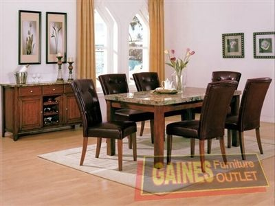 Crown Mark Bruce 2767 Marble Top Counter Height Table And 6 Chairs