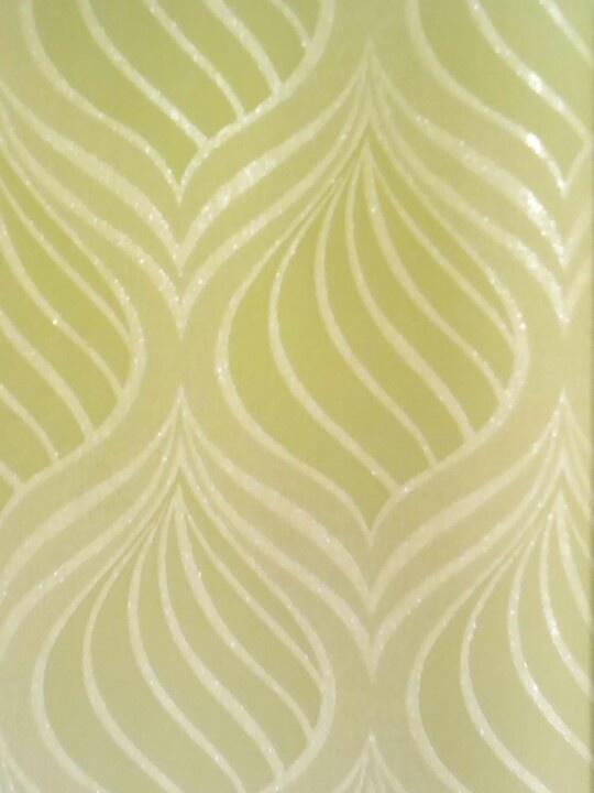 Behang, retro patroon met glans in helder groen (niet meer leverbaar)