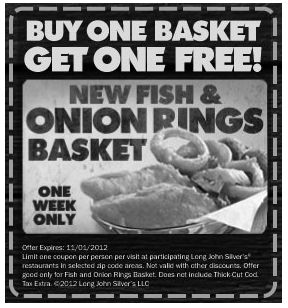 Second $5 fish & onion ring basket free at Long John Silvers coupon via The Coupons App