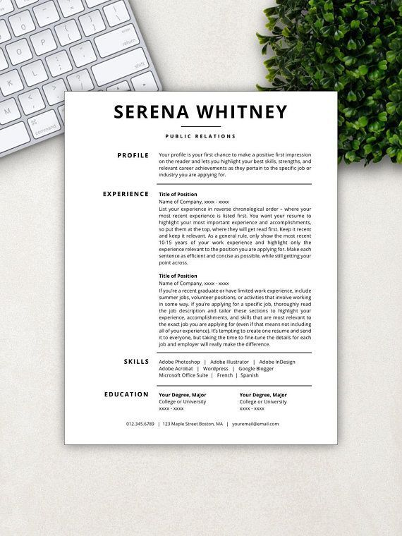 Professional Resume Template CV Template Resume Template Word
