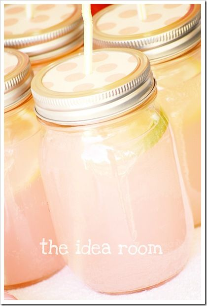 Mason jars with lids for spill proof drinks!