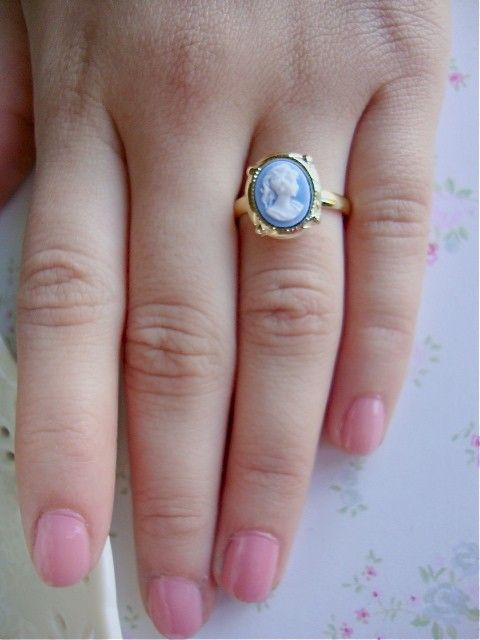 Tiny Blue Vintage Cameo.  i want this to be my wedding ring. not even kidding.
