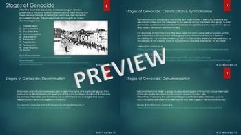 A powerpoint presentation requested for a high school class discussing the concept of genocide. This presentation primarily discusses the stages of genocide as defined in the ten-stage model by Professor Gregory Stanton. Several links are provided for further exploration of the concept as well as of famous contemporary genocides.