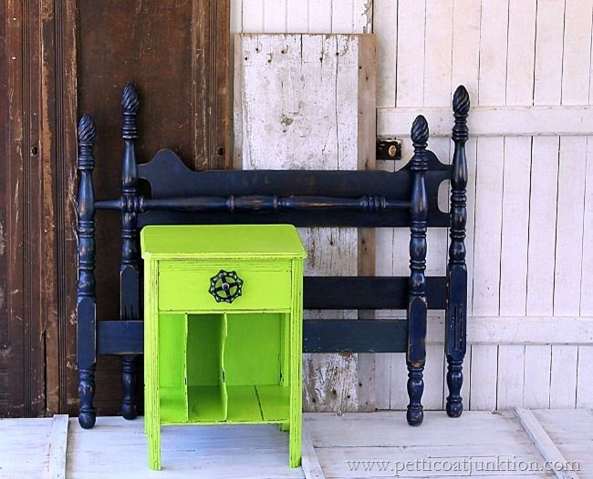 painted furniture...Lime Green Nightstand and Navy Blue Bed #paintedfurniture @behrpaint