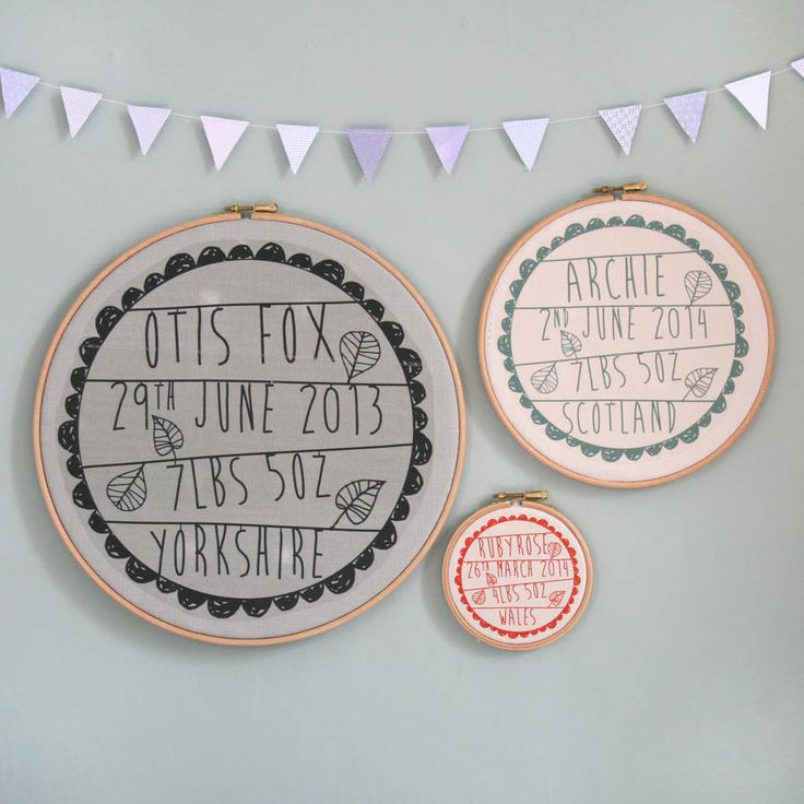 Best 25 baby embroidery ideas on pinterest embroidery stitches personalised baby birth hoop frame negle Choice Image