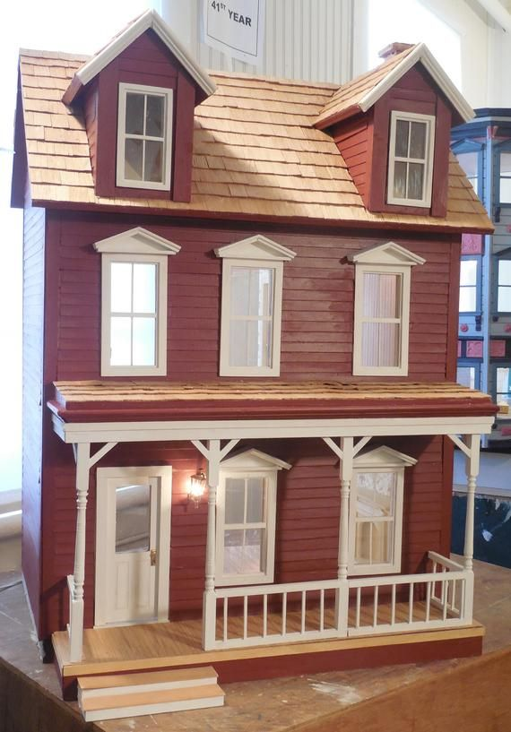 Red Wood Dormered Rustic Farmhouse Dollhouse Doll House