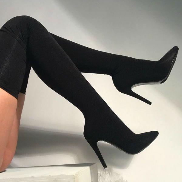 Black Thigh High Stiletto Boots   Thigh