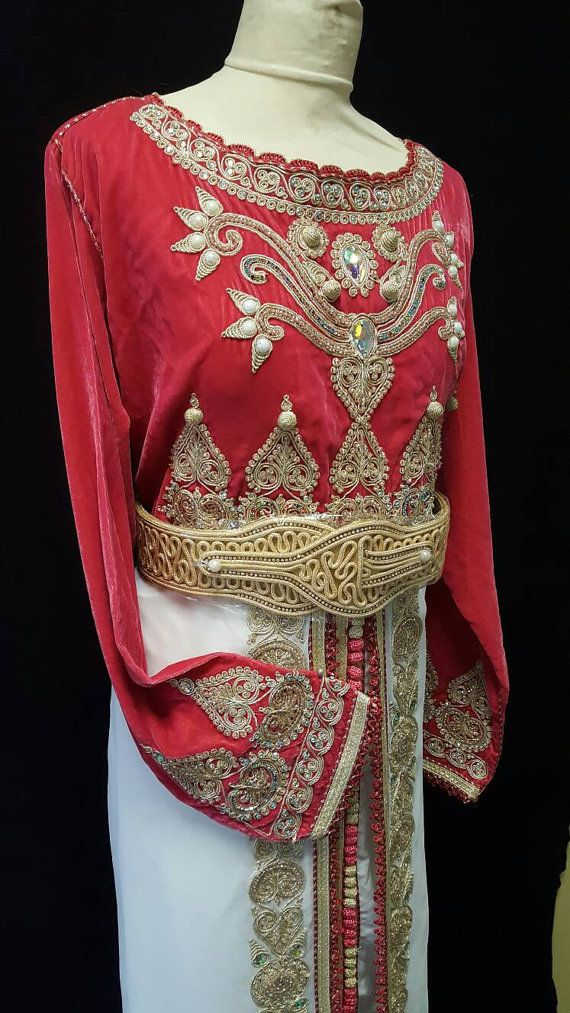 Caftan Marocain Robe Mariage corail  blanc et par Sheherazadesign