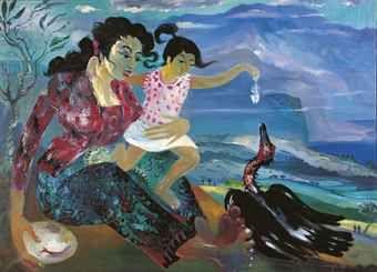 Hendra Gunawan - Mother and child feeding a fowl with fishbone
