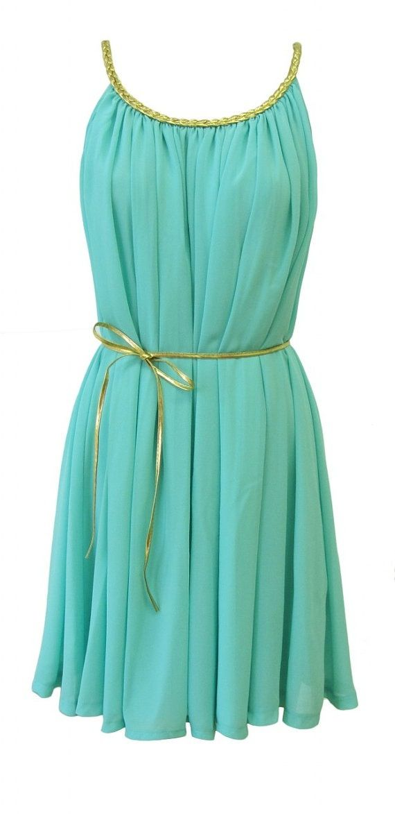 Love teal and love the braided necklineSummer Dresses, Mint Green, Fashion, Style, Clothing, Bridesmaid Dresses, Gold Accent, Grecian Dresses, Dreams Closets
