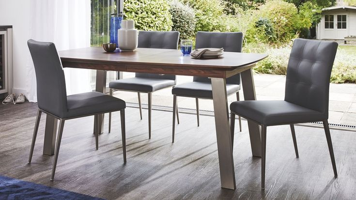 Walnut Wood Veneer Extending Table and White Dining Chairs