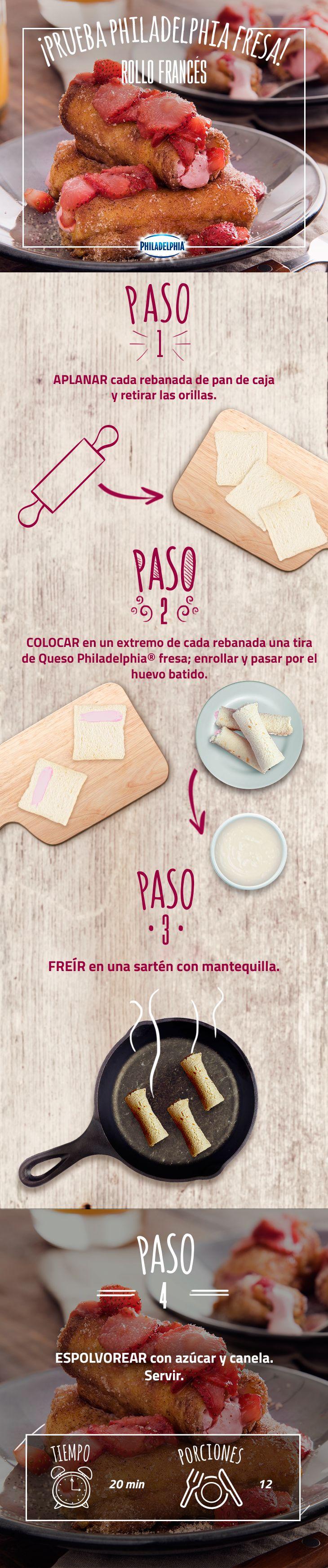 Esta noche sorpréndelo con esta rica receta.   #recetas #quesophiladelphia #fresas #panfrancés