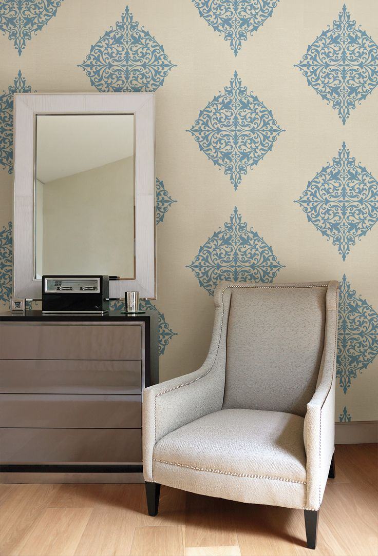 Turquoise feature wall with modern medallion wallpaper for Modern living room decor pinterest