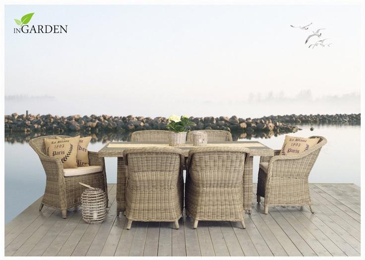Hagegruppe i kunstrotting – Modell Pacifica med seks stoler og bord fra Ingarden