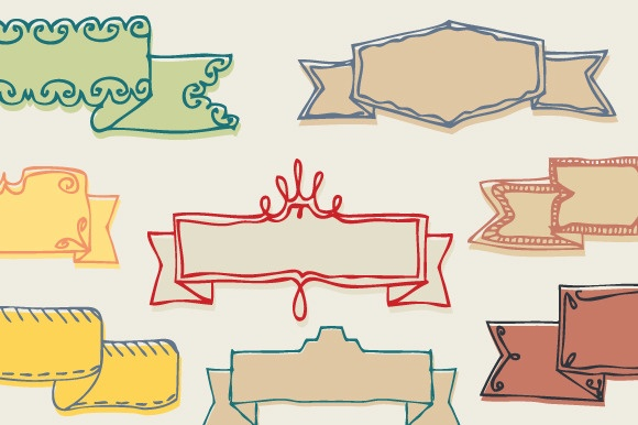 Hello   Hand drawn Ribbons  by Frisk Shop on Creative Market
