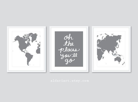 World Map Travel Nursery Art Prints Set of 3 Prints by AldariArt