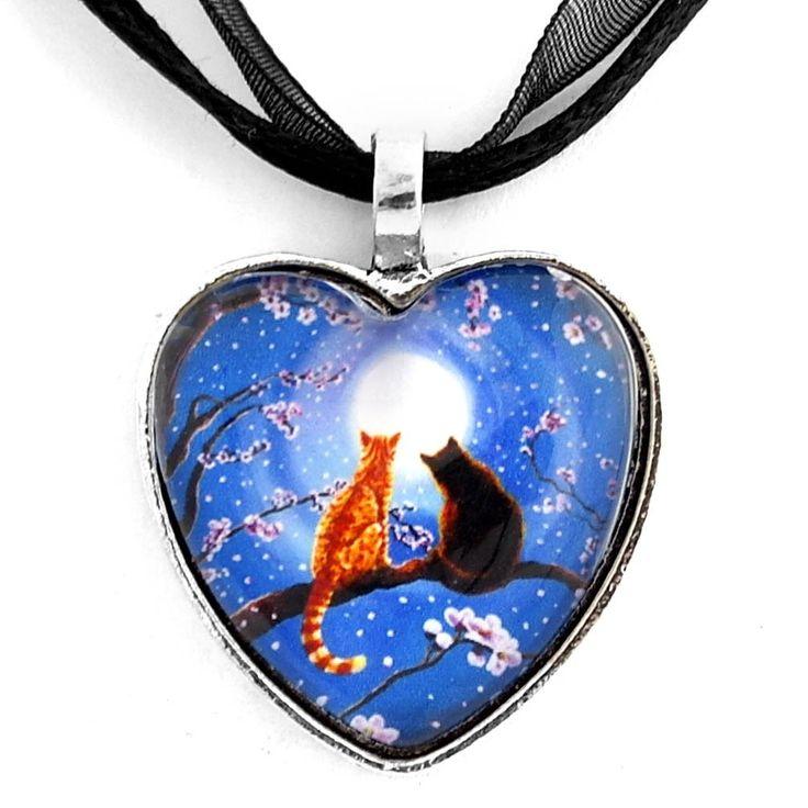 Blue Heart Orange Tabby and Black Cats Handmade Art Pendant: