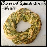 Cheese and Spinach Wreath By: The road to loving my Thermomix Dough:  450g lukewarm water 750g bakers flour, you may need more 4 teas yeast  1 teaspoon of salt Filling: 140g cubed cheese of choice 30g parmesan, cubed   2 cloves of garlic, peeled 40g baby spinach leaves Salt and pepper, to taste