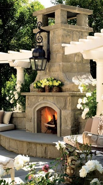 Custom Outdoor Fireplace Outdoor Living Pinterest