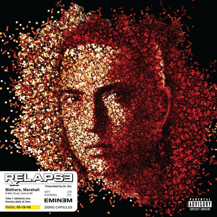 cover for 2009 eminem relapse album, image is made of individual prescription pills to make eminems face. During his hiatus after his close friend proof was murdered, marshall mathers went down a dark route to drugs and alcohol and put on so much weight he was unrecognisable, he checked into rehab, and his album is his experiences with drugs, written by ewan french