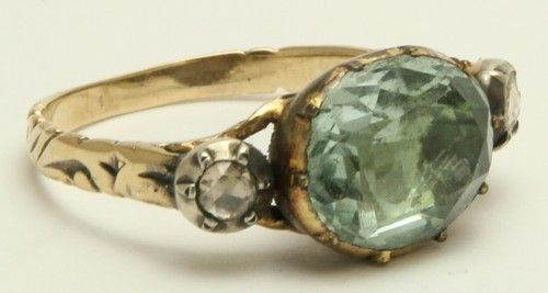 Georgian Aquamarine & Rose Diamond Ring Circa 1800's