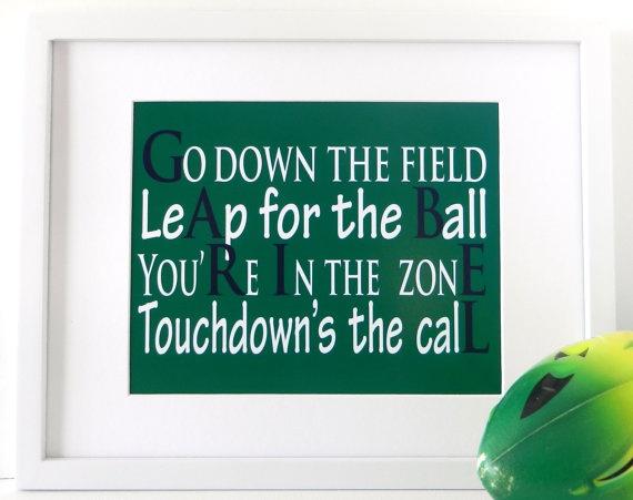 Football Art Football Poem Name Wall Hangings by LarkRoadRhymes, $20.00