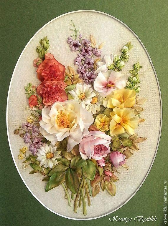 Купить quot Лето от lena liu летние цветы мальвы вышивка