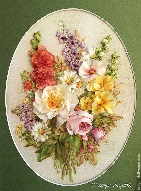 """Купить """"Лето"""" от Lena Liu - летние цветы, мальвы, вышивка шелковыми лентами, картина в подарок"""