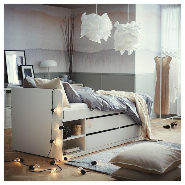 Slakt Bedframe Met Opberger Lattenbodem Wit 90x200 Cm Ikea In 2020 Bed Frame White Bed Frame Bed Frame With Storage