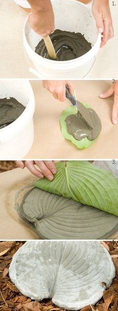 "Leaf stepping stones - 2 cups cement mixed with 1 cup water to make a ""paste"". Spread over leaf, let dry, peel leaf off. Cool stuff! Must try!"