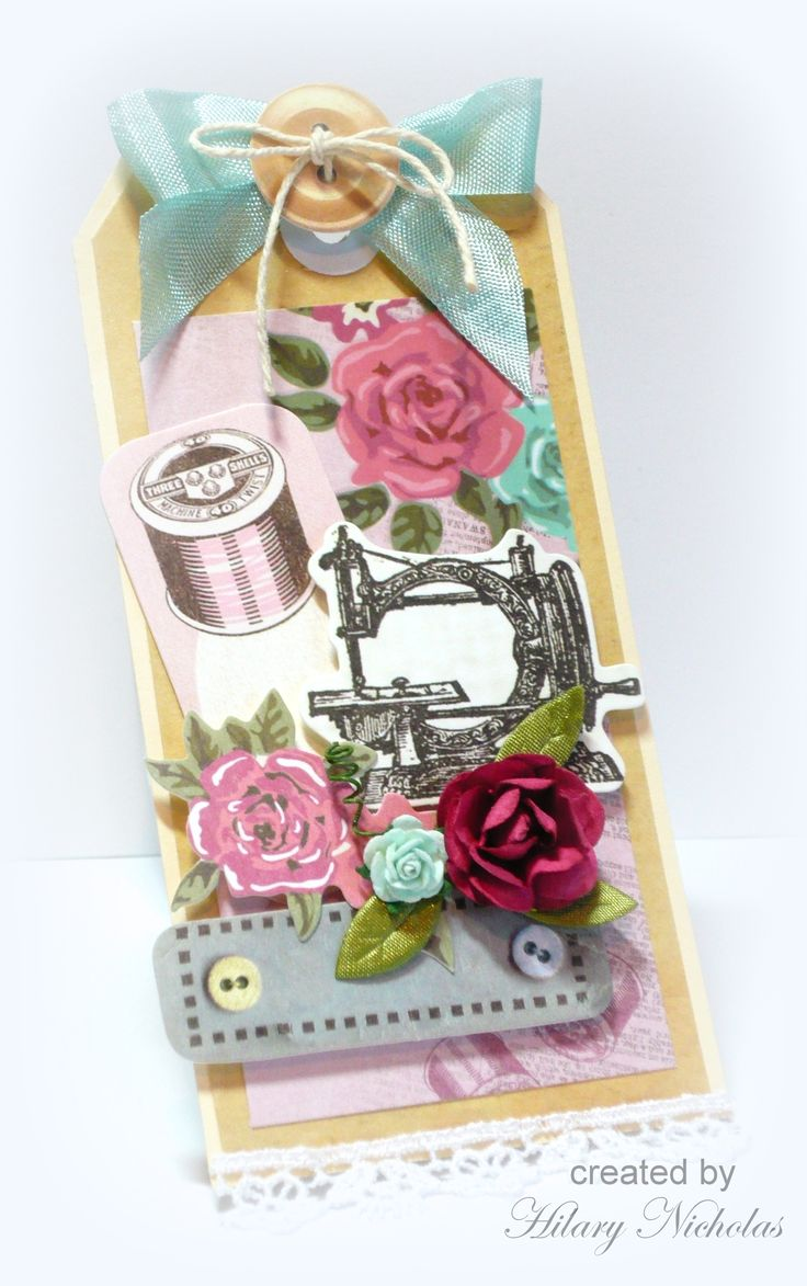Tag decorated with Kaisercraft Needle & Thread collection, created by Hilary Nicholas